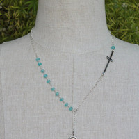 Sideways Cross Beverly Hills Housewives Rosary Style Necklace in Sterling Silver and Aqua Chalcedony