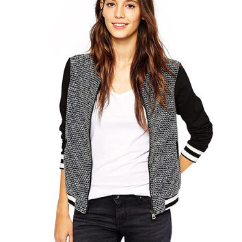 Black Knitted Varsity Jacket with Zip Up Side Pockets