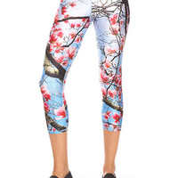 Womens Cherry Blossom Performance Capri Leggings