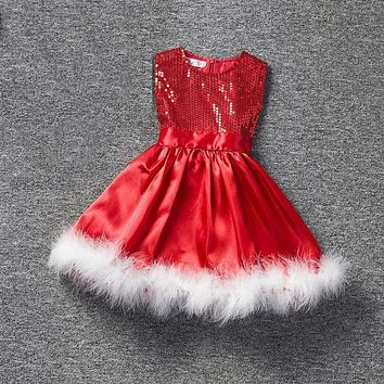 DreamShining Sequin Girls Dress Red Christmas Kids Dresses For Girls Feathers Children Clothing Costume Bow Ball Gown Dress Girl