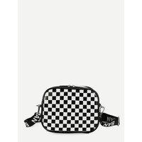 Gingham Crossbody Bag With Letter Strap