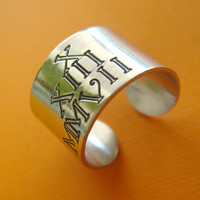 Personalized Roman Numeral Date Wide Ring in Aluminum - Custom Date Adjustable Ring