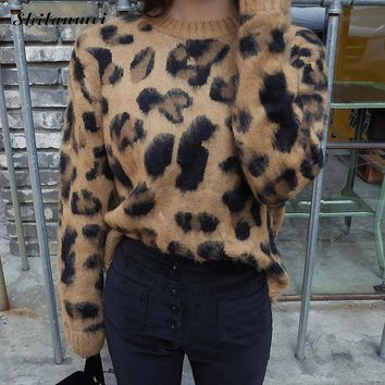 *online exclusive* cashmere blend fuzzy leopard pullover sweater