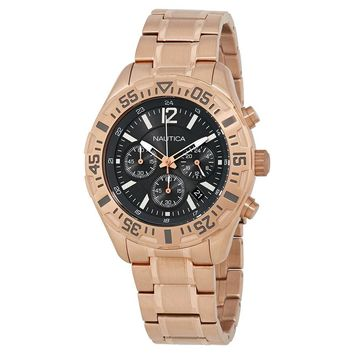 Nautica Chronograph Grey Dial Rose Gold-plated Mens Watch A23613GS