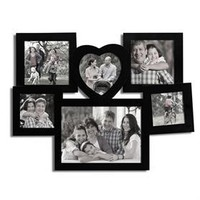 Adeco PF0217 6-Opening Black Wooden Wall Hanging Collage Photo Picture Frames - Holds 3x3 4x4 5x7 Inch Photos, Best Gift