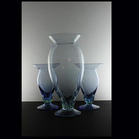 Vintage Hand Blown Vases in Blue with Leaf Design  Set of 3