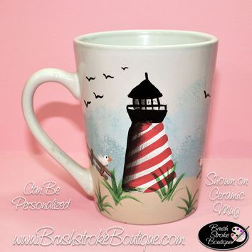 Hand Painted Coffee Mug - Lighthouse - Original Designs by Cathy Kraemer