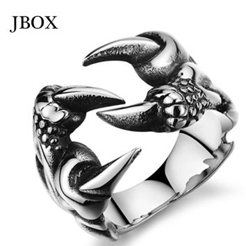 2015 Supreme Men/Boys Ring Western Fashion Punk Vintage Gothic Dragon Claw Stainless Steel Silver Black Rings Jewelry R103G