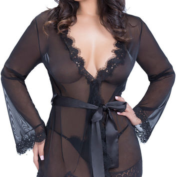 Plus Size Sheer Mesh Lace Trim Belted Chemise