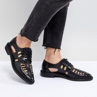 Selected Femme Leather Caged Lace Up Flat Shoe at asos.com