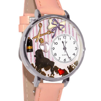 Whimsical Watches Designed Painted Dog Groomer Pink Leather And Silvertone Watch