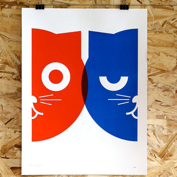 Print Poster  Dueling Watson the Cat  Hand Screen by mediumcontrol