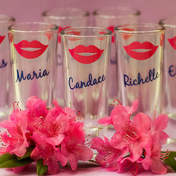 Shot glasses 2 oz. Bridesmaid gift, Bride, Maid of Honor, hot pink lips, purple, king blue. This listing is for one glass
