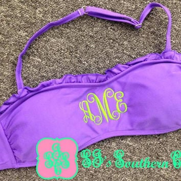 PURPLE Ruffle Monogrammed Bandeau Swimsuit Top