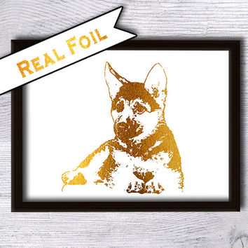 German shepherd real foil print German shepherd gold foil poster Animal art print Home decoration Kids room decor Nursery room wall art G30