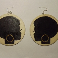 Wooden Handpainted Natural Afro Lady Earrings