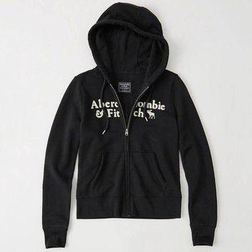 Abercrombie & Fitch Women Fashion Casual Cardigan Jacket Coat Hoodie-12