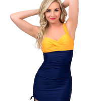 Pin Up Style Orange & Navy Color Block Two Piece Swimsuit