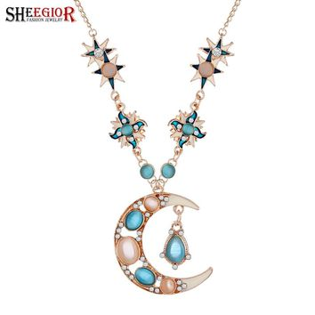 SHEEGIOR Gold Chain Long Necklace Women Sweet Lovely Space Star Rhinestone Opal Sun Moon Pendants Necklaces Fashion Jewelry Gift