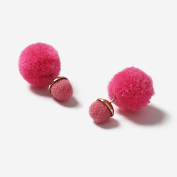 Pom Pom Front and Back Earrings - Jewelry - Bags & Accessories