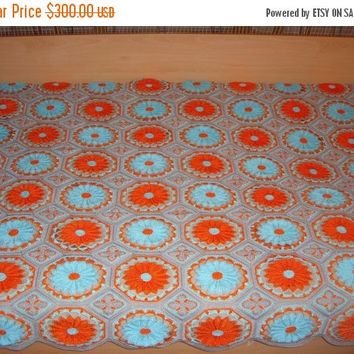 ON SALE - 10% OFF Granny Square Crochet Blanket...Twin Size Crochet Afghan...Sunflowers Patchwork Afghan....