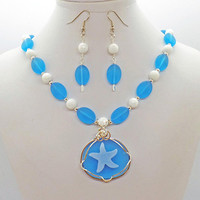 Starfish Sea Glass Jade Necklace Earrings Set