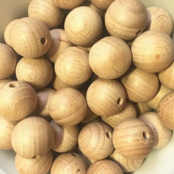 200Pcs/Lot 20mm Beech Wooden Beads Round Natural Beech Beads DIY Craft Jewelry Accessories Unfinished Wood Beads Charms Hot Sell