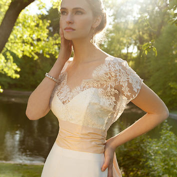 Chantilly Lace and Silk Crepe Bias Wedding Gown by rschone on Etsy