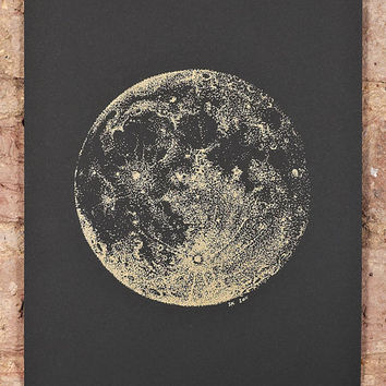 Full Moon screeprint  A4  gold ink on black paper by SabrinaKaici
