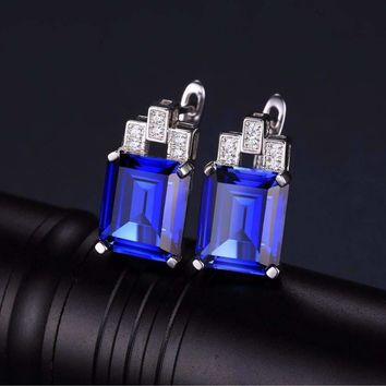 Legacy 8CT Emerald Cut Simulated Russian Sapphire IOBI Precious Gems Earrings