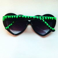 Made to Order GOOSEBUMPS inspired / alien sludge neon green and black heart shaped sunglasses