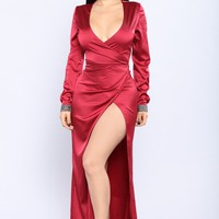 Say It In Satin Dress - Burgundy