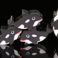 Four Mini Killer Whale Japanese Erasers