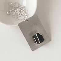 Silver and rough black tourmaline necklace