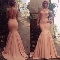 Stunning Prom Dress pink prom gowns long evening gowns for teens