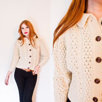Vintage 1960s Sweater - Irish Wool Cable Knit Ivory Cardigan 50s - 60s - Small