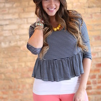 Navy Ruffle Striped Peplum Crop Top