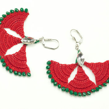Red Carnation Crochet Lace Earrings - Dangle Earrings - Czech Crystal - Rhinestone -Elegant Statement Jewelry - Green - Fiber Art Jewelry