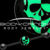 Glow in the Dark Inverted Skull Industrial Barbell in Black Titanium | Body Candy Body Jewelry