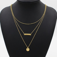 Chic Coin And Bar Pendant Multirow Charm Necklace