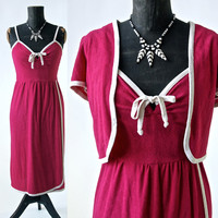 Vintage 70's Fuschia and Cream Dress and Bolero Jacket Terrycloth Patty O'neil size Small