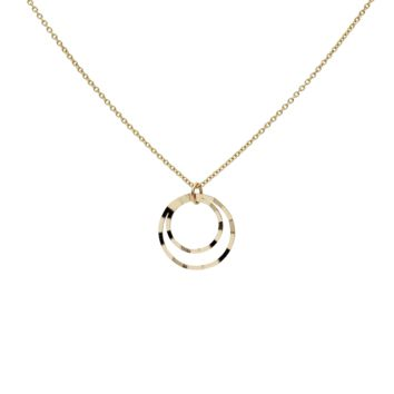 Solid Gold Textured Double Circles Necklace