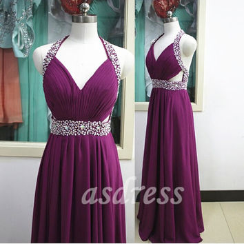 Grape purple Bridesmaid Dresses Homecoming Halter Prom Evening Party Dress beaded Sequins Long Chiffon ballgown dress cocktail dress Pageant