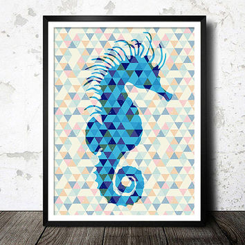 Sea horse art print, Nautical print, Modern poster, Ocean life art, Wall art, Home decor, Abstract poster, Modern pattern, Sea horse 3
