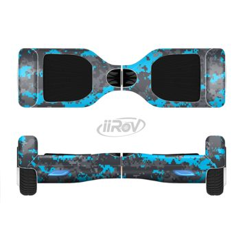 The Bright Blue and Gray Digital Camouflage Full Body Skin Set for the Smart Drifting SuperCharged Transportation iiRov