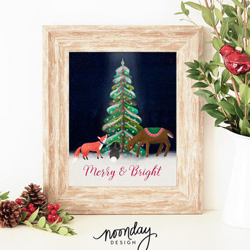 Merry and Bright Printable Art, Woodland Christmas, Christmas Art, Holiday Printable, Fox, Deer Printable Art, Christmas Download