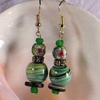 Gold Pink Green Cloisonne Bead Green Swirled Glass Bead Wood Accents