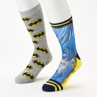 Batman 2-Pack Athletic Crew Socks - Men, Size: 10-13 (Blue Gray)