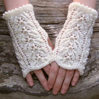White knit lace wrist warmers. Fingerless wool gloves. Elegant accessories for women