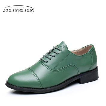 Women flats oxford shoes genuine leather vintage flat shoes US 11 round toe handmade Green  2017 oxfords shoes for women fur